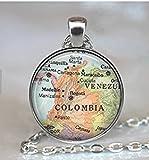 Colgante de mapa de Colombia, collar, collar, collar, collar, mapa de colores, mapa de viaje, llavero colombiano, llavero