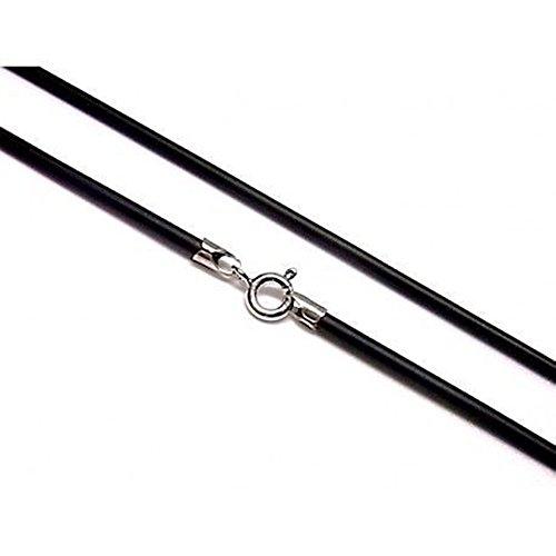 Minoplata Cordón de Caucho Negro y Plata 2 Mm. 50 Cm. una Gargantilla Unisex Ideal para Combinar con Colgantes, llamadores de ángeles, medallas y darles un Toque Actual