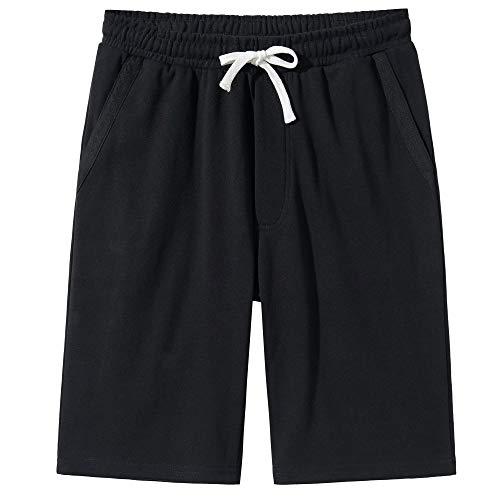 VANCOOG Men's Casual Cotton Knit Short Drawstring Elastic Yoga Gym Shorts-Black-L