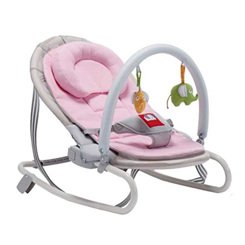 Lowest Prices! KUANDARM Foldable Baby Rocking Chair Swing Bouncer Chair with Pillow Cradle Shaker Fr...