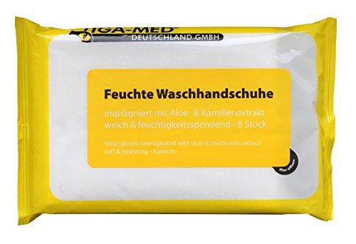 Waschhandschuhe Feucht Einmal Einweg 24 Pack = 192 Stück Waschhandschuh mit Aloe Vera imprägnierte