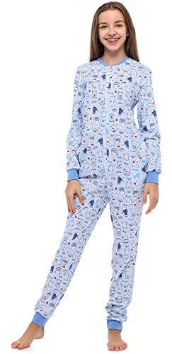 Merry Style Mädchen Jugend Schlafanzug Strampelanzug Schlafoverall(Blau/Hund/Katze, 176)