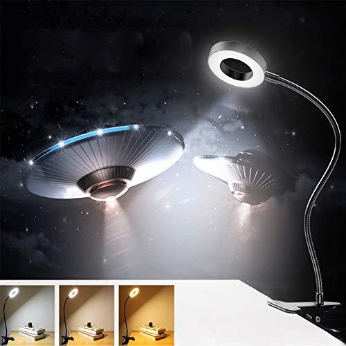 Depuley LED Klemmlampe Dimmbar Schwarz, 6W Leselampe Buch Klemm, 3 Farbmodi und 10 Heilligkeit, 360° Flexibler Schwanenhals, USB Klemmleuchte Kinderzimmer, Nachttischlampe Bett für Jugen Lesen