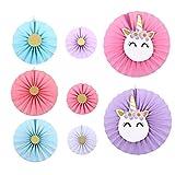 Amosfun - Abanicos de papel de unicornio para colgar en papel para fiestas de unicornio, regalos de Navidad, cumpleaños, fiestas de bebés, eventos, accesorios