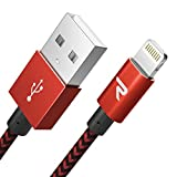Rampow Cable iPhone Cable Lightning 2M Cargador iPhone [Apple MFi Certificado] Nylón Duradero Compatible con iPhone 11 11 Pro XS MAX XR X 8 7 6S 6 5 5S 5C SE iPad iPod y más - Rojo