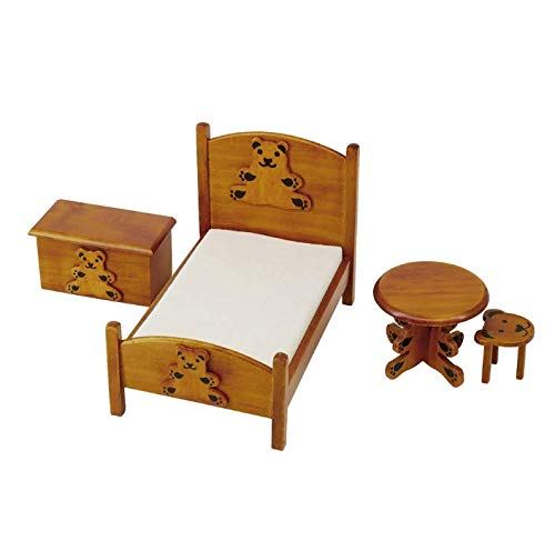 Dollhouse Miniature Bear Bed Set, 1/12 Mini Doll House Furniture with Bed, Cabinets, Tables, Stools, Home Decoration Gift
