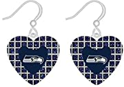 Heart Shaped Earrings Adorned with Team Colored Glitter Stones Decorated with Team Colored Logo that Adds a Pop of Pretty Color Designed with Fish Hook Backings to Ensure Care-Free Wear Hypo-Allergenic for Sensitive Ears Add Some Stylish Team Spirit ...