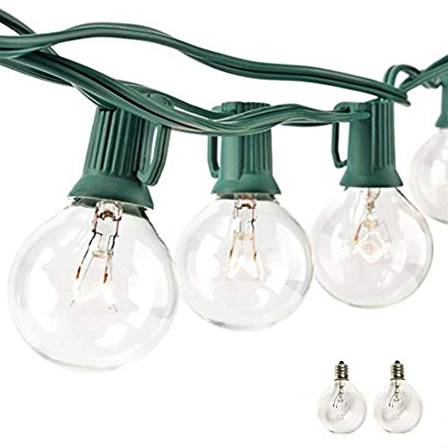 Sunsgne 25Ft G40 Globe String Light with 25 Clear Bulbs,UL Certified for Outdoor and Indoor Decoration Garden Party Wedding Pergola Backyard Umbrella Patio Outdoor Light String,Green Wire