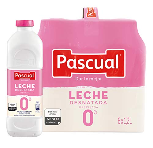 Pascual Leche Desnatada 0% - Paquete de 6 x 1200 ml - Total: 7200 ml