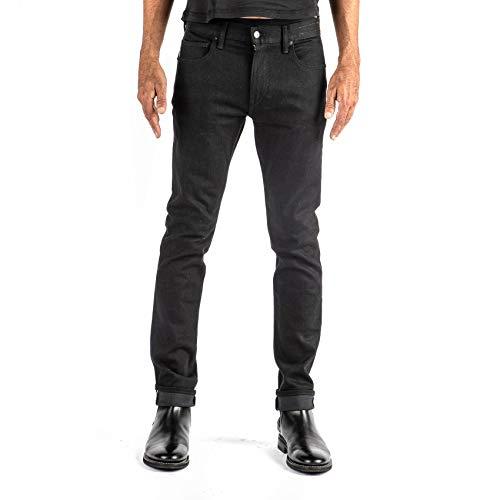 HIROSHI KATO Jeans Men's The Needle Skinny Raw Black 10.5 oz 4-Way Stretch Selvedge Denim Skinny Fits Made in USA Raw Black 34 Louisiana
