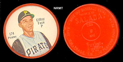 1962 salada tea coins (Baseball) card#174-180 Elroy Face (180 back) of the Pittsburgh Pirates Grade Excellent to Excellent Mint