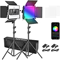 Neewer 2 Packs 530 RGB Led Light with APP Control, Photography Video Lighting Kit with Stands and Bag, 528 SMD LEDs...