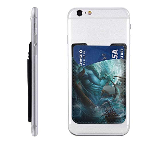 Card Holder for Back of Phone -Poseidon War Sea God Silicone Stick On Cell Phone Wallet with Pocket for Credit Card, ID, Business Card