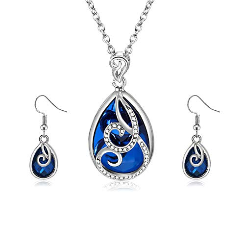 Lumanuby. Conjunto de Pendientes y Collar Cristal Retro para Mujeres Boda joyería Size 15.5+2.16' (Cristal Azul Calado)