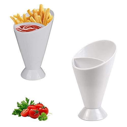 2 Pezzi Patatine Fritte e Salsa, Buffet Cono Snack, Supporto per Cono Snack, PP Plastica Porta Patatine Fritte E Salsa Dip Porta Snack per Casa, Cucina, Stoccaggio Snack