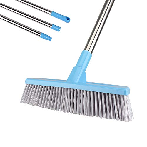 """Floor Scrub Brush with Long Handle - 52"""" Deck Brushes for Scrubbing, Stiff Bristle Grout Brush, Long Handled Shower Scrubber for Cleaning Tile, Wall, Bathroom, Tub, Bathtub and Patio (Bule)"""