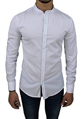 Camicia Uomo Cotone Slim Fit Casual Elegante con Colletto Coreana (XXL, Bianco)