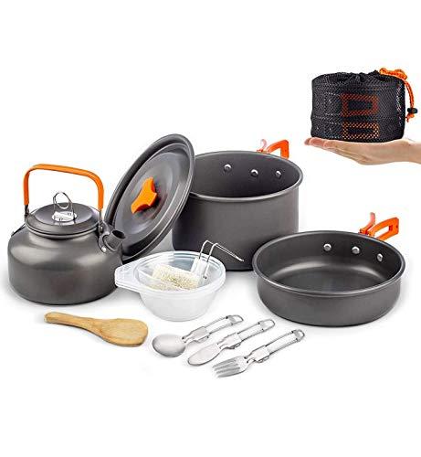Camping Utensilios de cocina Set Tazón y cuchara de madera, excursionismo al aire libre Picnic No-Stick Cocina Mochila con cuchillo y tenedor plegable Set para el senderismo Pesca de picnic,Orange