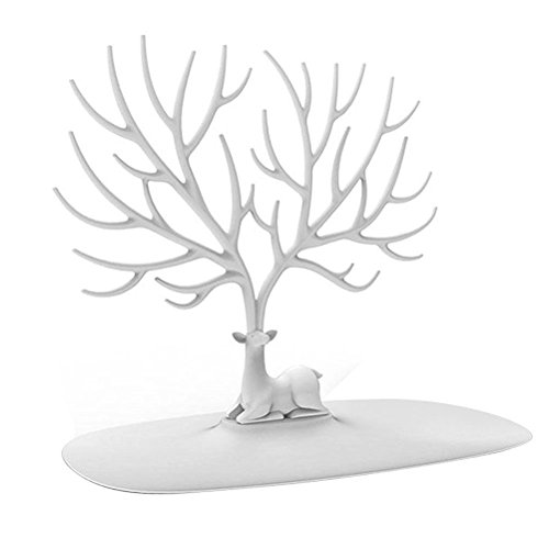 WINOMO, dekorativer Schmuckständer, Hirschgeweih, Baumdesign, Ständer für Armband und Halskette, mit Ringablage, weiß