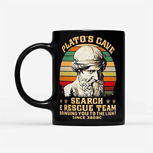 N\A El Equipo de Rescate de búsqueda de Cuevas de Platón lo Lleva a la luz Desde el año 380 a. C. Vintage - Taza de café Negra de 11 oz