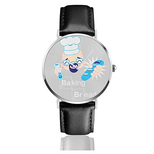 Unisex Business Casual Backen Kawaii Brot Breaking Bad Heisenberg Uhren Quarz Leder Armbanduhr mit schwarzem Lederband für Männer Frauen Young Collection Geschenk