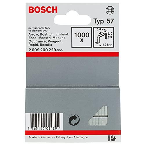 Bosch 2609200229 Agrafe à fil plat de type 57 10,6 x 1,25 x 6 mm 1000 pièces