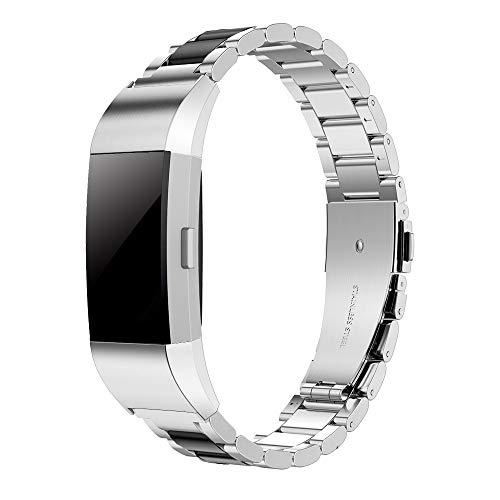 Simpeak Correa Compatible con Fitbit Charge 2 (5.5-8.1 Pulgadas), Correa de Acero Inoxidable Reemplazo Wristband Pulseras de Repuesto Bandas Compatible con Fitbit Charge 2 Fitness,Negro Plateado
