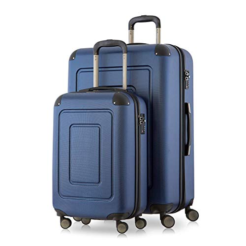 Happy Trolley - 2er Koffer-Set Trolley-Set Rollkoffer Hartschalen-Koffer Reisekoffer Lugano sehr leicht, TSA, (S+XL), Dunkelblau