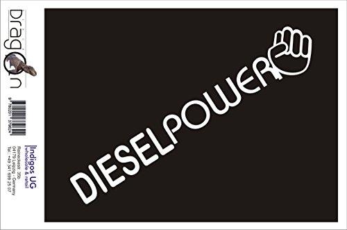 INDIGOS UG Aufkleber Autoaufkleber - JDM Die Cut Auto OEM - Diesel Power - 210x40 mm weiß - Auto Laptop Tuning Sticker Heckscheibe LKW Boot