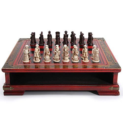 ACAMPTAR 32 Teile / Satz Holz Tisch Schach Chinesische Schach Spiele Harz Vintage Collectibles Geschenk Schach Figur Weihnachten Geburtstag Premium Geschenke Unterhaltung Brett Spiel