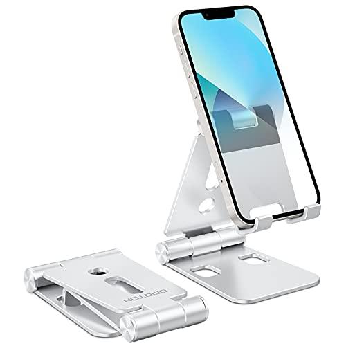 OMOTON Soporte Móvil Plegable, Multiángulo Soporte Ajustable de Aluminio, Base Móvil Portátil de Escritorio para iPhone 13 12 Mini 12 Pro MAX 11 SE, Xiaomi Redmi 9S 8 Pro y Otras Smartphones, Plata