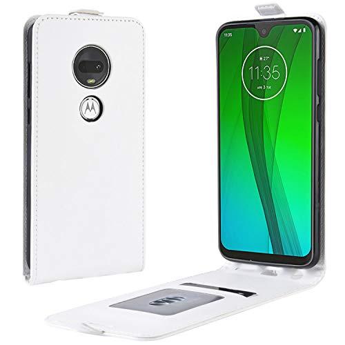 HualuBro Moto G7 Plus Hülle, Leder Brieftasche Etui LederHülle Tasche Schutzhülle HandyHülle Handytasche Leather Wallet Flip Hülle Cover für Motorola Moto G7 Plus (Weiß)