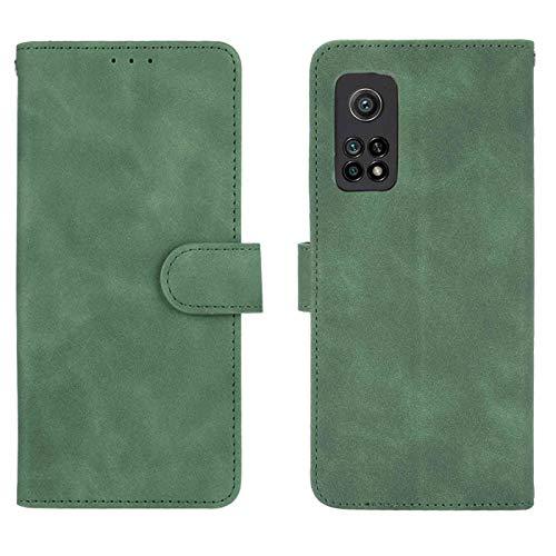 GOGME Leather Folio Cover per Xiaomi Mi 10T PRO 5G Cover, PU + TPU Leather Wallet Case, Premium Filp Cover Custodia in Pelle Portafoglio con Funzione Stand, Verde