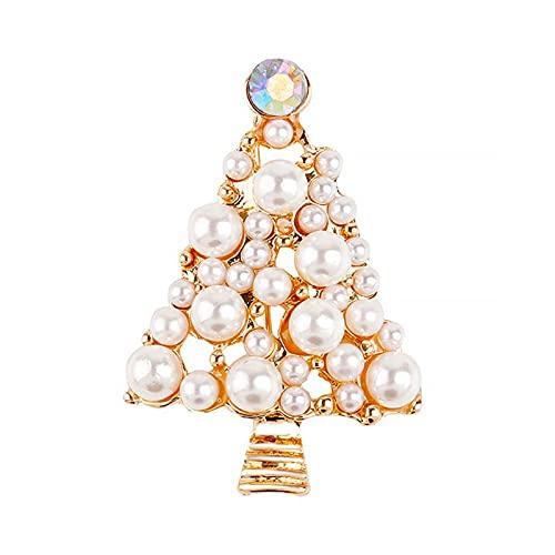 Ruby569y Broche, broche Pin de rbol de Navidad forma de perlas de imitacin joyera exquisita todo el partido broche decoracin de la ropa - dorado,