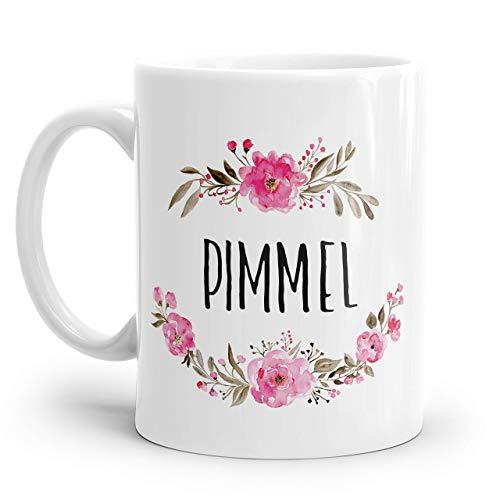 Tasse mit Spruch: PIMMEL | Personalisierbar | mit rosa Blumen
