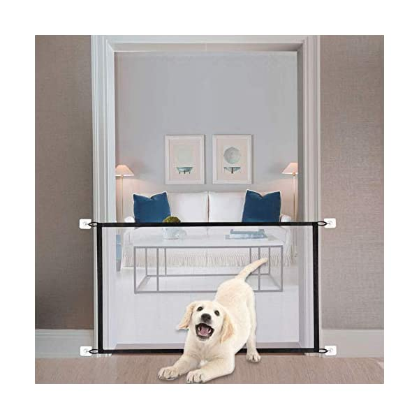 43″ Magic Gate Pet Gate for Dog Doors with 8 Sticky Hooks Safety Kid Fence Black