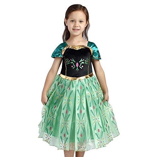 IWEMEK - Disfraz infantil de princesa Anna para carnaval, Halloween, fiesta de Navidad, cumpleaos, vestido largo de 2 a 10 aos verde 4-5 Aos