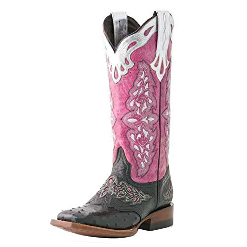 HapyLady Vintage Damen Western Stiefel Mid Calf Pull On Round Up Wide Open Half Boots Square Toe Cowboystiefel Farbig Pink Size 38 Asian