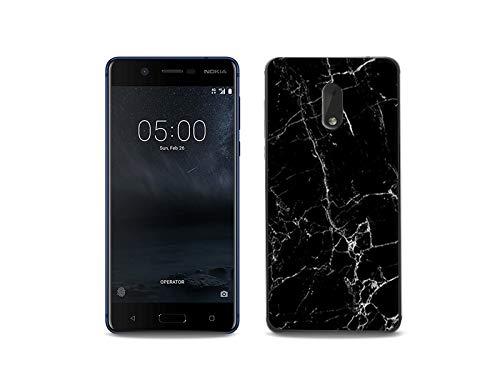 etuo Handyhülle für Nokia 6 - Hülle, Silikon, Gummi Schutzhülle Fantastic Hülle - Schwarze Marmor