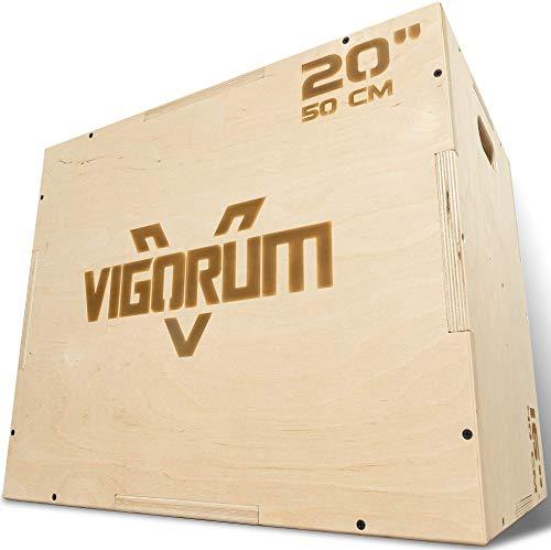 Vigorum Plyo Box de madera 3 en 1 – su dispositivo deportivo para casa – Jump Box con fácil montaje – La Fitness Box para saltos de boxeo con bordes redondeados