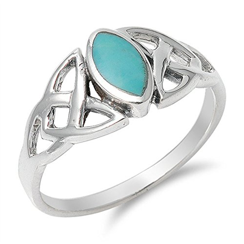 Simulated Turquoise Celtic Knot Classic Marquise Ring .925 Sterling Silver Band Size 8