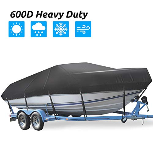 Trailerable Boat Cover, Waterproof 600D Bass Boat Cover, 17-19ft UV Resistant Marine Grade Heavy Duty Outboard Cover Compatible for Bayliner Boat, Fits Tri-Hull V-Hull Fishing Jon Boat, Black