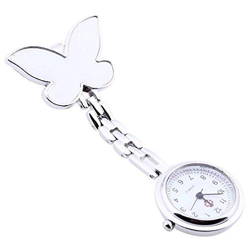 Foxpic bianco fiocco con movimento al quarzo clip spilla Pendant Watch
