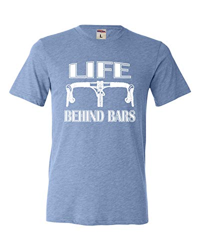 Go All Out Large Blue Adult Life Behind Bars Funny Bike Bicycle Funny Triblend T-Shirt