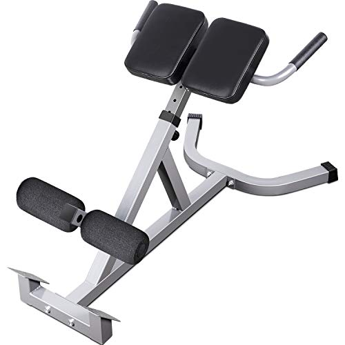 Merax Adjustable Roman Chair AB Back Hyperextension Bench with Handle for Home Fitness (Black)