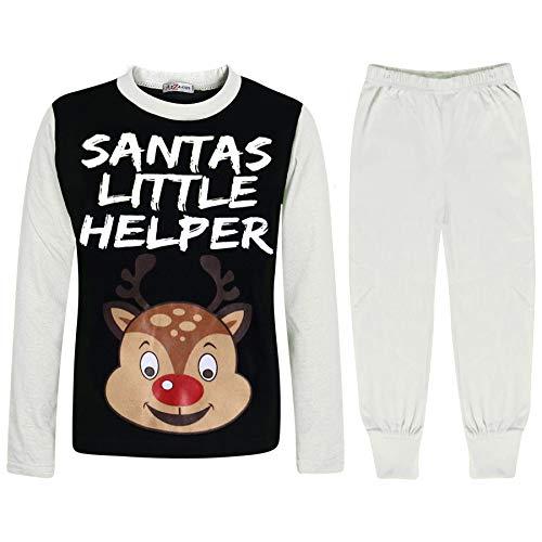 A2Z 4 Kids Unisex Pyjamas Santas Little Helper Reindeer - PJS Rudolph White 11-12