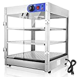 WeChef Commercial Countertop Food Pizza Warmer 3-Tier 24x20x20 inch Pastry Heater Display Case for Buffet Restaurant
