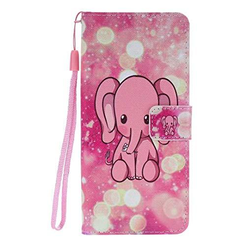 Miagon Custodia Cover Case per iPhone 8/7,Colorato Modello Pelle Portafoglio Libro Cuoio Flip Cover con Porta Carte Magnetica Supporto,Rosa Elefante