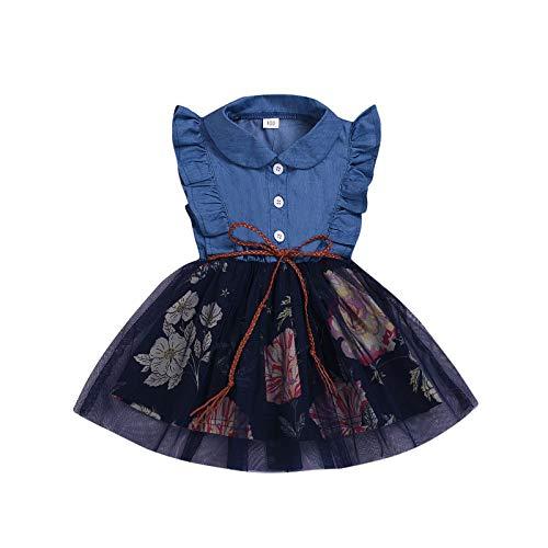 Carolilly Tutu Kleid Baby Mädchen Sommerkleid Kleinkind Strandkleid Blumendruck Brautkleid für Mädchen Urlaubskleid Prinzessin Kleid (Blau A, 3-4 Jahre)