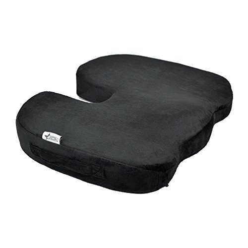 JIDA Orthopedic Comfort Memory Foam Seat Cushion, Office Chair Wheelchairs and Car Seat Pads, For Coccyx Lower Back Support, To Relieve Back & Tailbone Pain and Sciatica (Black)